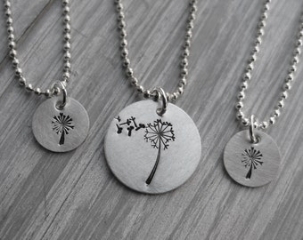 Sterling Silver Mother Daughter Necklace Set Dandelion Make A Wish I Wished For You Hand Stamped Jewelry Set Mommy Daughter Jewelry