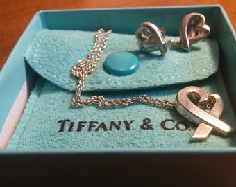"Tiffany & Co. Sterling Silver Paloma Picasso Huge Loving Heart Pendant Necklace 18"" MATCHING set earrings w/ box Tiffany snap cloth pouch!!!"