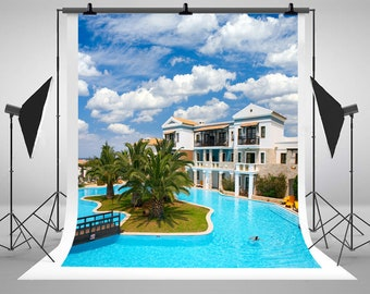 Beach House Bule Sky White Clouds Photography Backdrops Swimming Pool Coconut Trees Photo Backgrounds for Vacation Studio Props