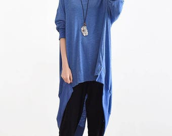 Long sleeved, cotton, asymmetrical, loose, large size, t shirt