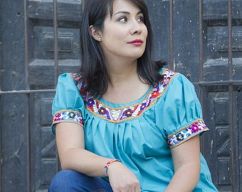 L Mexican embroidered blouse, Teal Blue Medium Large, Cotton ethnic shirt, Frida Kahlo blouse, Boho blouse