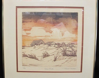 "Robert Clibbon Lithograph ""Dune Shacks"" Pencil Signed, Numbered and Titled"