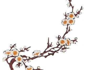 Cherry Cream Blossom Floral Applique Fabric Patches - More Colours