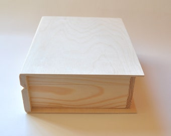 Wooden Box Book. Unfinished Wood Box. Unpainted Wood Box. Wooden Storage Box. Decoupage Box PZ287