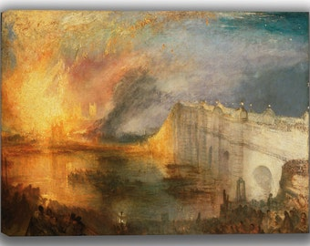 William Turner: The Burning of the Houses of Lords and Commons, October 16, 1834. Fine Art Canvas. (04122)