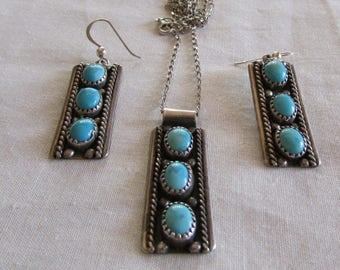 Sterling Silver and Turquoise Necklace and Wire Dangle Earring Set