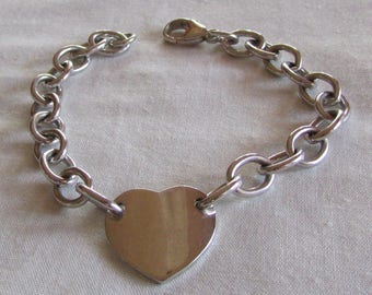Sterling Silver Heart with Link Chain Bracelet