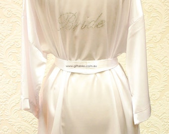 Bridal Party Satin Robes - Bridal White