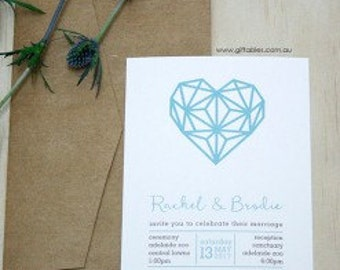 Geometric Heart 5 x 7 Printed Invitation