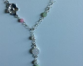 Spring Flower Gemstone Necklace