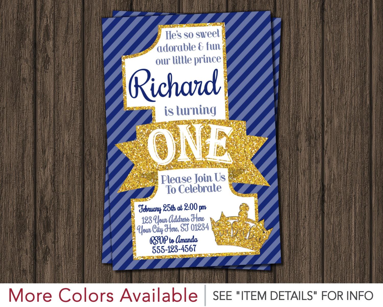 Prince Birthday Invitation - First Birthday Invitations - 1st ...