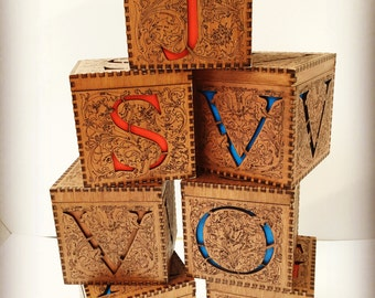 Beautiful keepsake box personalised with your initial...fretwork and engraving make this both useful and beautiful!