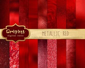 Metallic Red Textures Digital Paper, glitter foil, Backgrounds, red Glitter, Foil Scrapbook ...