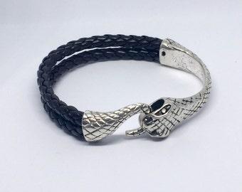 Men's leather bracelet - unisex bracelet - ladies' bracelet - leather bracelet with silver python clasp