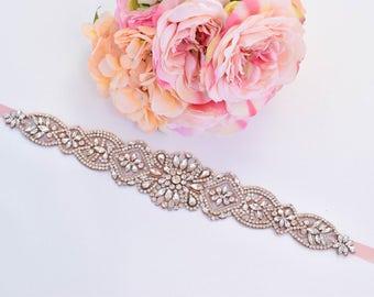 Rose Gold Crystal Rhinestone Bridal Belt on Satin Sash - Bridal Sash - Rosegold Rhinestone Belt - Rose gold Wedding Accessories B104