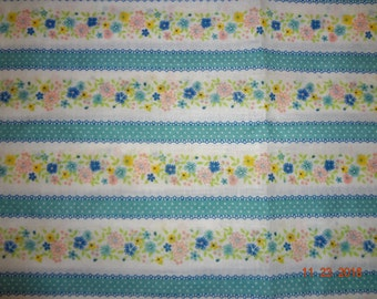 "5 Yards of Vintage Retro Floral & Striped Cotton Fabric - 45"" wide"
