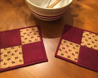 Kitchen Potholders / Quilted Potholders / Country Decor / Handmade / Item #1758