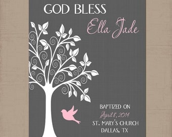 Baptism wall art etsy girl nursery tree wall art personalized girl name artwork bird tree baby wall negle Images