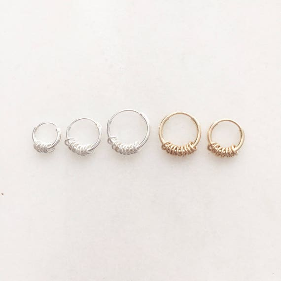 Minimalistic hoop earring with tiny rings | Price per piece or pair | 8/10/12mm sterling silver & 9/12mm 14k gold filled