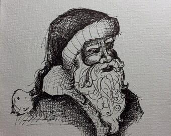 Santa fine art paper print
