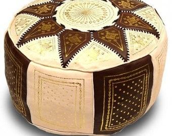 Beautiful Leather pouf, ottoman pouf, moroccan home decor