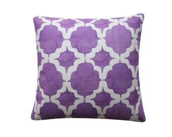 "18""x 18"" Decorative Pillow Cover, Purple Watercolor Cushion, Geometric IKAT Moroccan Trellis Cushion Cover Throw Cushion Cover 269"