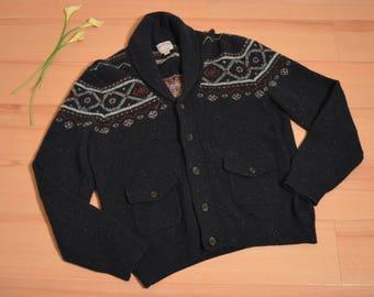 Vintage Brooks Brothers Lambswool/Nylon Shawl Collar Cardigan Sweater Size Large