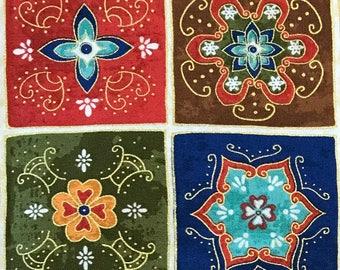 "MOROCCAN Fabric FLORAL Squares Design. Precut Fabric Quilt Squares. 5"" Charm Squares. Fabric for quilting Australia"