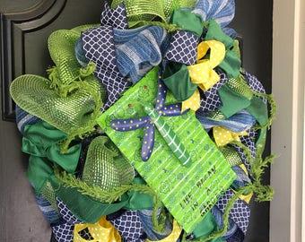 Summer Wreath Dragonfly Sumer Wreath Garden Green Wreath Inspirational Front Door Summer Wreath Navy Yellow Wreath