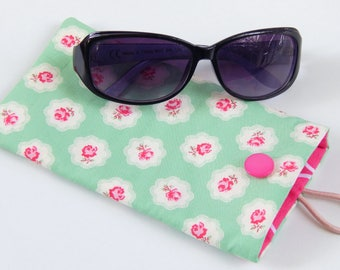Floral sunglasses case, handmade glasses case, reading glasses case, summer accessories, mothers day gift, birthday present, gift for her