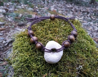 Hag Stone & Organic Hemp Bracelet, Adder, Shaman, Odin Stone, Amulet, Magick, Witchcraft, Witch, Wiccan, Pagan Jewelry, Natural Jewellery