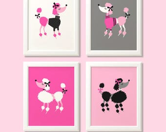 Poodle print set, poodle print set, poodle wall art, poodle nursery prints, pink decor, poodle bedroom, poodle wall decor, kids room