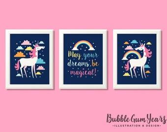 Unicorn nursery prints, unicorn prints, unicorn decor, unicorn nursery art, unicorn art, unicorn bedroom, girls room, girls wall art.