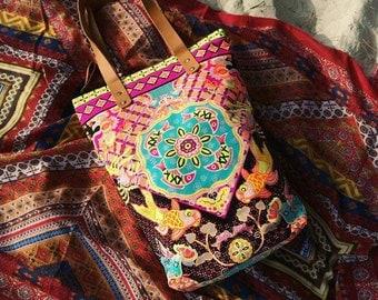 Neon Bohemian Tote Bag/ Beach bag / Beach totes / Boho tote bag