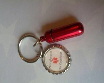 Medical Alert  Nitroglycerin Keychain,