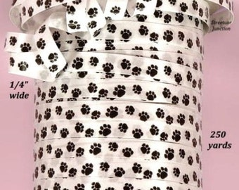 """750 ft. of 1/4"""" wide Dog / Cat PAW PRINT Curling Ribbon - Black on White"""