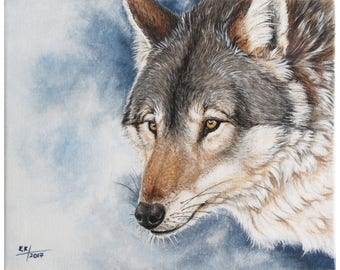 Wolf, acrylic painting on canvas