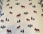 buffalo plaid moose with trees crib sheet//moose fitted crib sheet//crib sheet