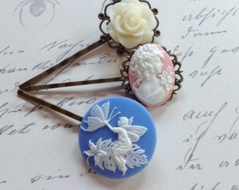 NEW! Pastel Cameo And Rose Hair Clips