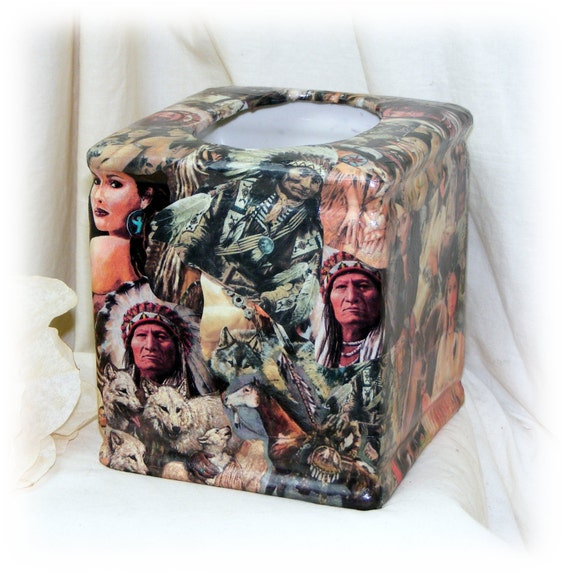 AMERICAN INDIAN Tissue Box Cover . . original art . . signed & dated