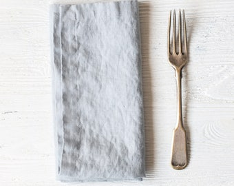 Washed large linen napkins / Set of 4, 6, 8 or 12 washed handmade linen napkins in ice blue/silver grey
