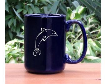 Dolphin Coffee Mug / Dolphin 15 oz Coffee Mug / Engraved Large Tea Cup / Ceramic Coffee Mug / Hot Chocolate Mug / Dolphin Tea Mug