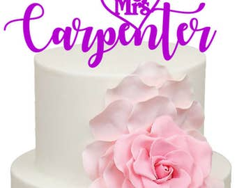 Personalised Mr & Mrs Surname Wedding Acrylic Cake Topper