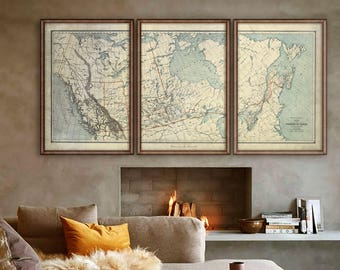 "Canada map 1887 Old map of Canada in 4 sizes up to 90x45"" Vintage Canadian map in 1 or 3 parts, Beige or Blue - Limited Edition of 100"