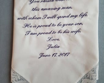 Embroidered mother of the groom Wedding Handkerchief PERSONALIZED