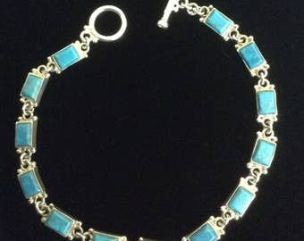 Sterling Silver and Turquoise 8.5 inch Bracelet and Earrings