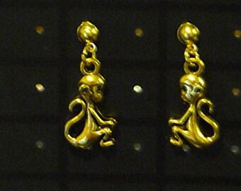 Monkey Stud Earrings - Tibetan Gold Tone
