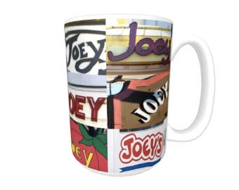 Personalized Coffee Mug featuring the name JOEY in photos of signs; Ceramic mug; Unique gift; Coffee cup; Birthday gift; Coffee lover