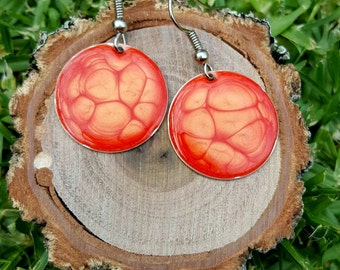 Hand painted round dangle earrings