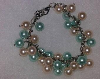 Teal and Beige Pearl Bracelet Set
